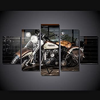 Harley Davinson Motorcycle print canvas decoration 5 pieces