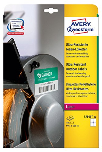 (Avery Zweckform l7915 10 Ultra Poly Film Labels (Pack of 20 Sheets – 99.1 x 139 mm 10 Sheets White)