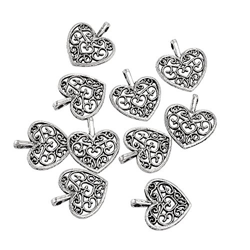 endant Heart Tibetan Metal Beads Silver Color for Jewelry Making DIY Bracelet ()