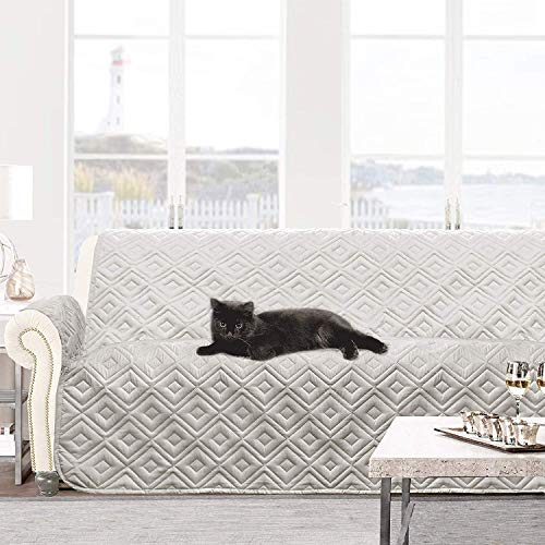 DriftAway Water Resistant Quilted Sofa Cover Furniture Protector Slipcover for Dogs, Kids, Pets, Gray - Sleeper Dog