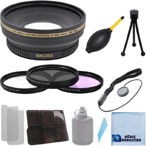 Pro Series 72mm 0.43x Wide Angle Lens + 3 Pieces Filter Sets with Deluxe Lens Accessories Kit for Canon EOS 5DS R Rebel T6s 5DS Rebel T6i 7D Mark II T1i T2i T3 T3i T4i T5i SL1 30D 40D 50D 60D 5D 1D Mark 2 T5 DSLR