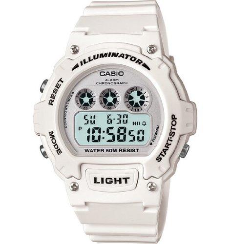 Casio W-214HC-7BVCF Mens White Chronograph Watch, Watch Central