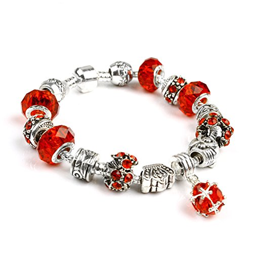 (Xiwstar Fashion Beaded Bracelet Handmade Carved Silver Plated Snake Chain Charm Bracelets for Women (7.87 inch,)