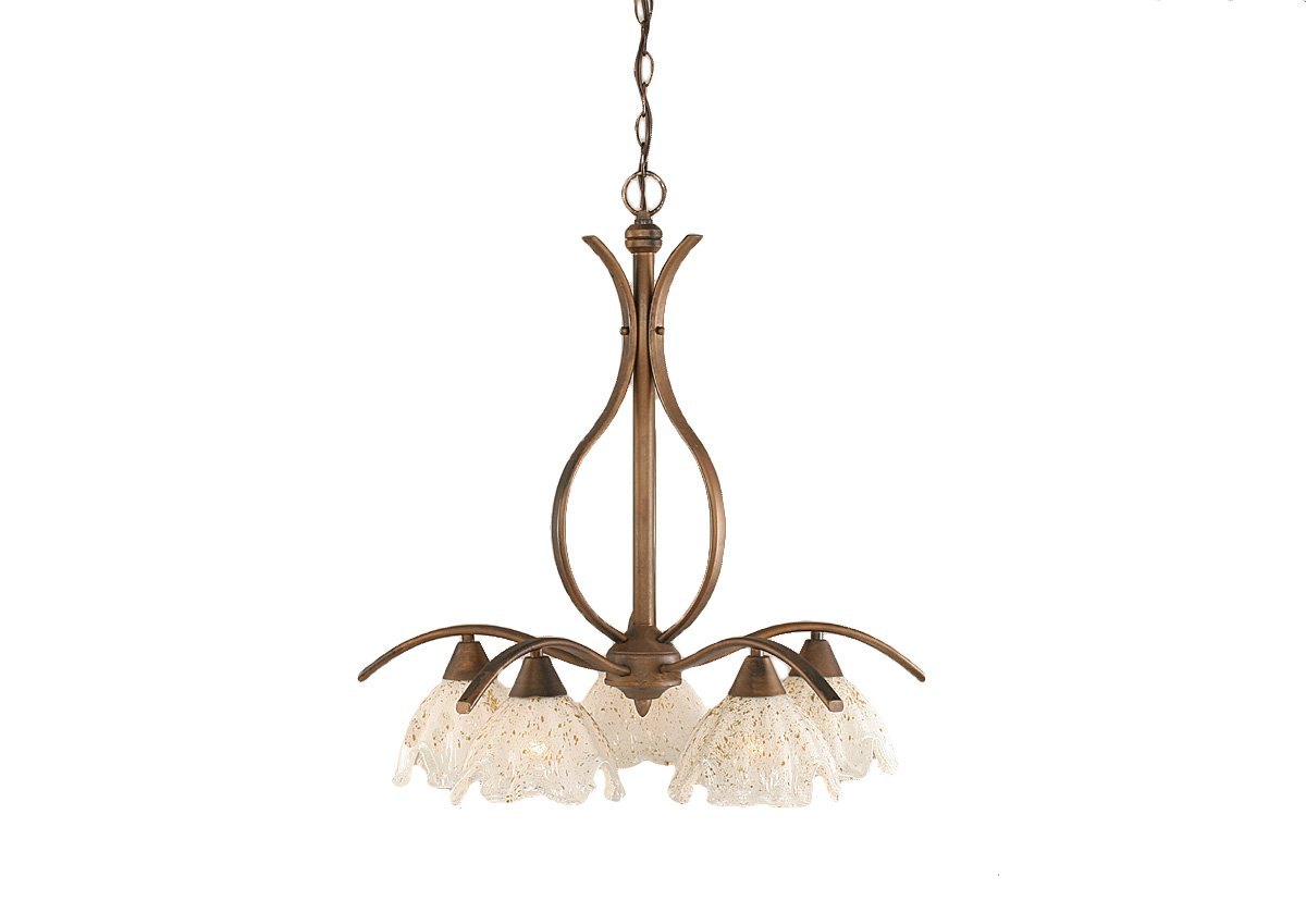 Toltec Lighting 297-BRZ-755 Swoop Five-Light Down light Chandelier Bronze Finish with Gold Ice Glass Shade, 7-Inch by Toltec Lighting