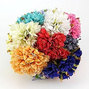 30PCS 4CM Carnation Silk Artificial Flower Bouquet For Home Wedding Party Decoration DIY Wreath Gift Box Scrapbooking Fake Flowers 5