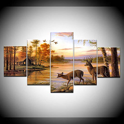(LIVELJ Prints 5 Piece Canvas Art Piece Large Modern Canvas Prints Artwork Gallery Seascape Bedroom Pictures Landscape Paintings Wall Two Deer Drinking Water )