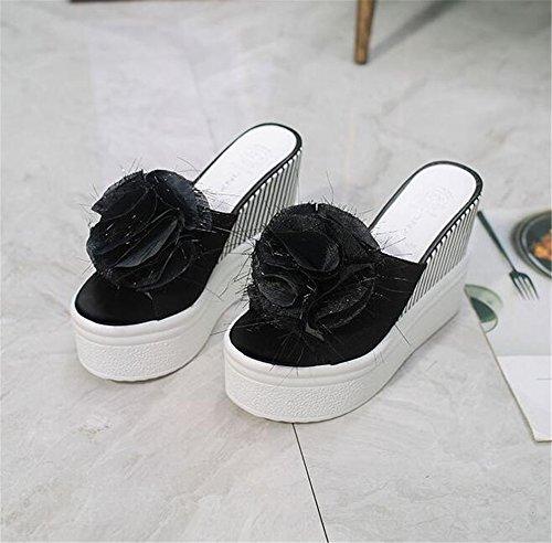 Platform Sandals Summer Slippers Women Wedge Waterproof pit4tk Black Sandals Sandals Slippers Beach 7Zq6U