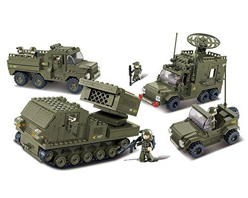 Sluban M38-B0310 Vanguard Blocks Army Bricks Toy ¨C Army Personnel Carriers & Radar Car & Prowl Car & Guard Bazooka Army Radar