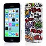 JUJEO Bam Boom Doodle Pattern Glossy Plastic Back Case for iPhone 5C, Non-Retail Packaging, Multi Color