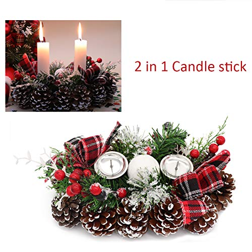 Aster 2 in 1 Christmas Candle Holder, Frosted Pine Candle Rings with Candlestick Decorative Red Berries Burlap Bow, Holiday Candlelight Stand for Xmas Dining Room Decoration Display Home Decor from Aster