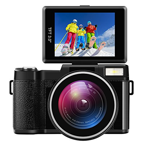 "Digital Camera Camcorder Full HD Digital Video Camcorder 1080P 24.0MP 3"" LCD Flip Screen Vlogging Camera with Wide Angle Lens and Flash Light by RAINBOWDAY"