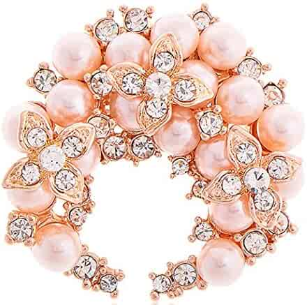 2a5949cf0d7 Sojewe Women Pink Simulated Pearl Brooch Pin Rose Gold Plated Clover Circle  Anniversary Wedding Gift
