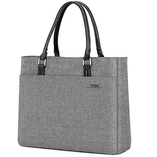(DTBG Laptop Tote Bag, 15.6 Inch Women Shoulder Bag Nylon Briefcase Casual Handbag Laptop Case for 15-15.9 Inch Tablet/Ultra-Book/MacBook/Chromebook (Grey))