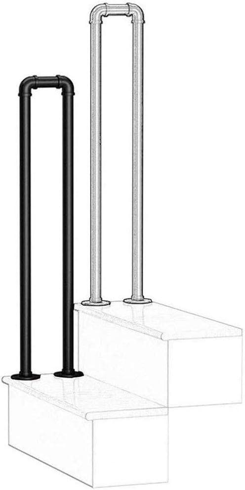 Barandilla de escalera de tubo galvanizado de hierro forjado negro cepillado con viento industrial, barandilla antideslizante de seguridad para escalones al aire libre, con kit de montaje, tamaño op
