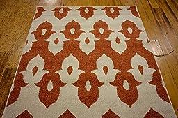 Modern Geometric 3 feet by 5 feet (3\' x 5\') Ikat Rust Red Contemporary Area Rug