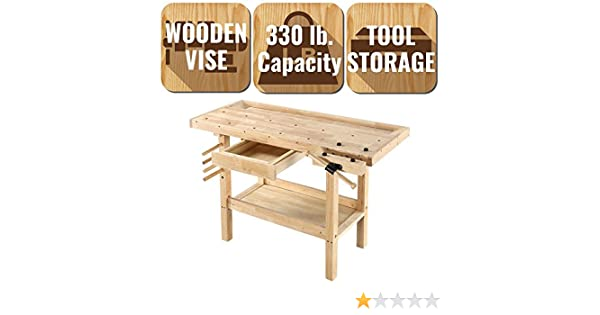 Workshop Wood Bench 4 Drawer Tool Storage Vise 5 ft Professional Lacquer Finish