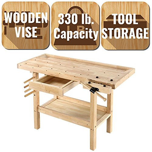 OLYMPIA 4 ft. x 2 ft. 330 lbs. Convenient, Durable,, Stylish, Hardwood Workbench with Built-In Wooden Vise
