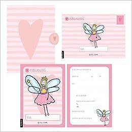 12 Einladungskarten Geburtstag Mädchen (Feen). Handgemachte Einladungskarten  Kindergeburtstag Incl. 12 Liebevollen Hand Designten Briefumschlägen.