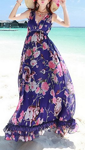 Xiang Ru Des Femmes De Manches V-cou Plage Vacances D'été Florale Maxi Robe Bleue
