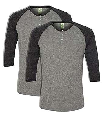 Alternative 01989E1 50% Polyester 38% Cotton 12% Rayon Men's Raglan Three-Quarter Sleeve Henley Shirt Eco Grey\Eco Black X-Small 2 Pack