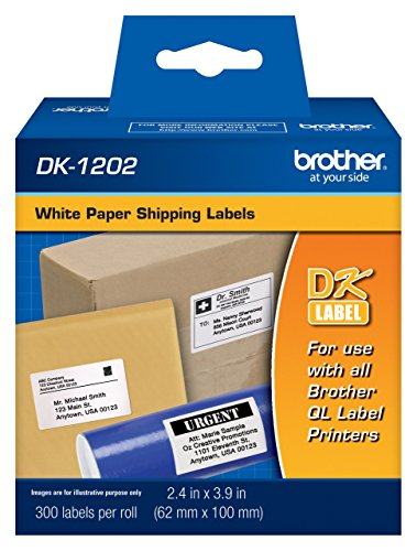 Brother DK1202 Standard Shipping Labels, 300 Labels Per Roll for Brother QL-720NW, QL720NW Label Printer