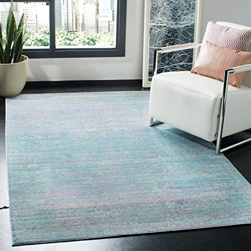 Safavieh Valencia Collection VAL203P Turquoise and Multi Distressed Watercolor Silky Polyester Area Rug 5 x 8