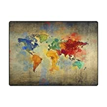 INGBAGS Super Soft Modern Vintage World Map Area Rugs Living Room Carpet Bedroom Rug for Children Play Solid Home Decorator Floor Rug and Carpets 63 x 48 Inch