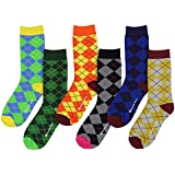 Womens Funny Funky Novelty Holiday Crew Socks (6 Pack) (Argyle Pattern)