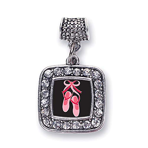 (Inspired Silver - Ballerina Slippers Memory Charm for Women - Silver Square Charm for Bracelet with Cubic Zirconia Jewelry )