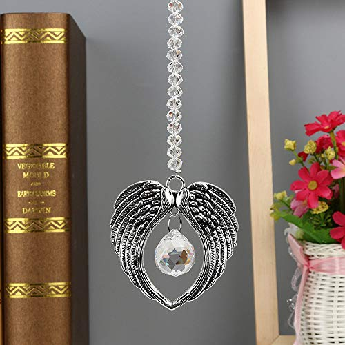 Hot Sale!DEESEE(TM)1PC Bohemian Wing Clear Crystal Ball Prisms Pendant Hanging Wedding Decor Gift (A) ()