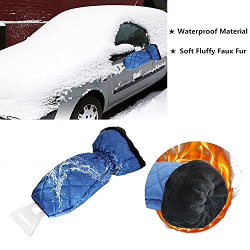 ZHUBANG Car Truck Blue Ice Icing Scraper Plastic Blade Mini Waterproof Glove Kits for Windshield Window Snow Ice Scraper Mitt Snow Scraper Tool