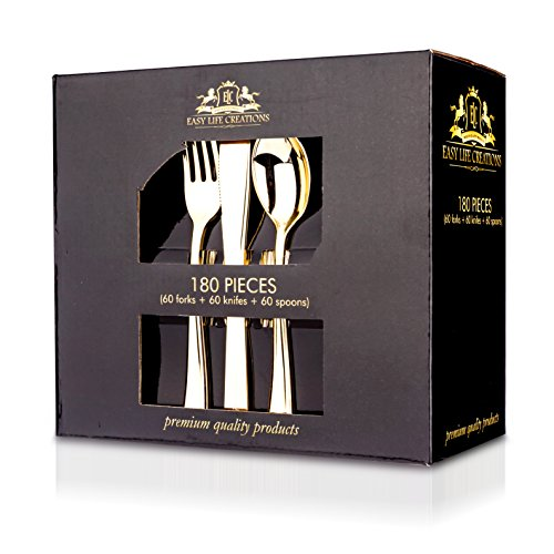 Finish Picnic Table - 180 Pieces Gold Disposable Plastic Flatware Utensils Set: Easy Life Creations Fork, Spoon and Knife Home Kitchen Cutlery Silverware - Modern Dinner and Party Kitchenware Forks, Spoons and Knives