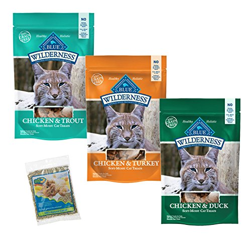 Cedar Crate Market B079QQN4DK Soft Moist Cat Treats Bundle - 3 Flavors with Bonus Catnip Bundle