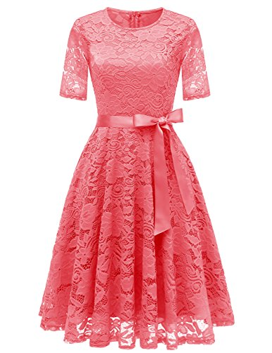 DresstellsShort Scoop Bridesmaid Floral Lace Dress Cocktail Formal Swing Dress Coral M (Formal Lace Dresses With)