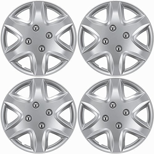 OxGord Hub-caps for 03-05 Honda Civic (Pack of 4) Wheel Covers 14 inch Snap On ()