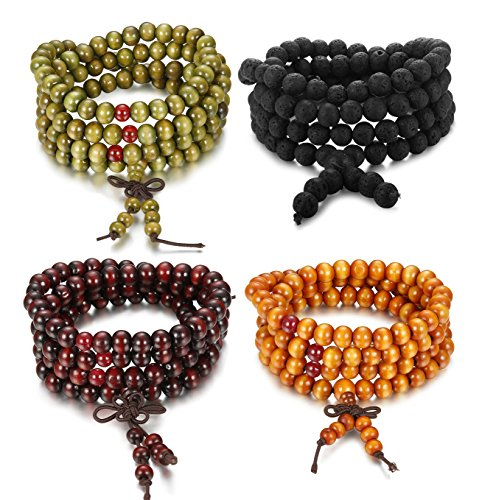 JOERICA 4PCS Natural Lave Rock Stone Bead Bracelet for Men Wooden Beaded Bracelet