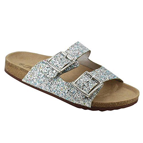 Forever FQ79 Women's Sparkle Glitter Slip On Casual Sandals, Color Silver, Size:7.5 (Glitter Sandals Womens)