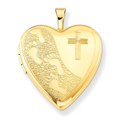 ICE CARATS 1/20 Gold Filled 20mm Cross Religious Footprint Heart Photo Pendant Charm Locket Chain Necklace That Holds Pictures W/chain Fashion Jewelry Gift Set For Women Heart by ICE CARATS (Image #3)