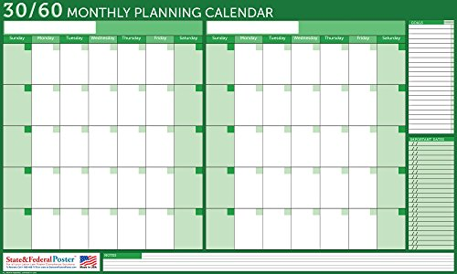 Wall Planner - Calendar - Undated - Dry-Erase - 30 60 Days - (Green) Laminated - 40 x 24
