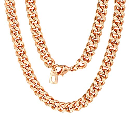 7mm Mens Womens Chain Flat Curb Cuban Link Chain Rose Gold Filled Necklace Chain