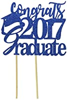 All About Details Blue Congrats 2017 Graduate Cake Topper