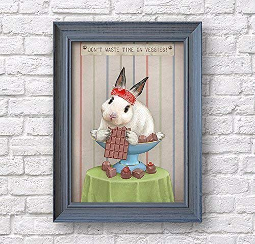 Rabbit art poster, white bunny with chocolate print, artwork