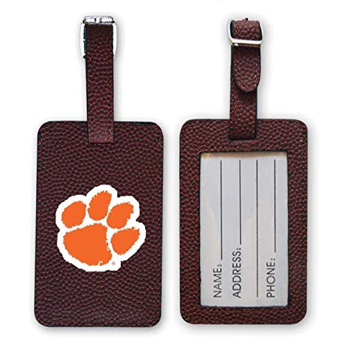 Zumer Sport Clemson Tigers Football Leather Luggage Tag - Made from The Same Exact Materials as a Ball - Unique Design for Standing Out During Travel - ID Card Badge Slot - Brown