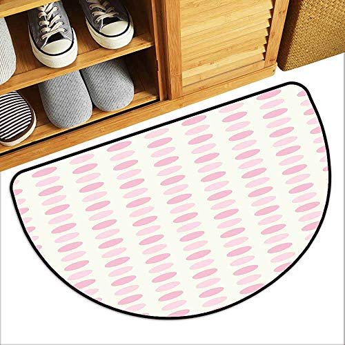 DILITECK Printed Door mat Geometric Romantic Pale Polka Dots Abstract Valentines Day Themed Illustration Breathability W30 xL18 Pale Pink Rose Cream