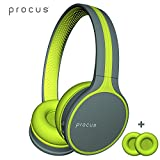 Procus Urban (Green) - Bluetooth Headphones Wireless, On Ear, Hi-Fi Stereo Wireless Headset, 2 Sets of Washable Soft Memory-Protein Earmuffs, w/ Built-in Mic and Wired Mode for PC/ Cell Phones/ TV