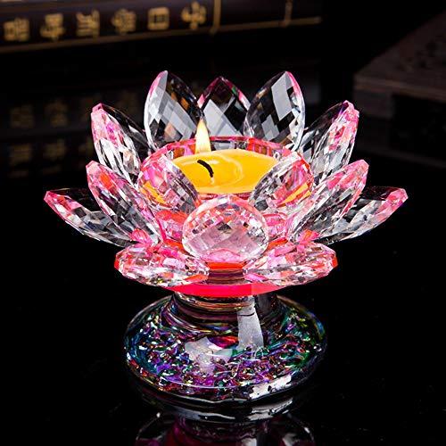 (NszzJixo9 Three Layers of Lotus Petal Design Crystal Glass Lotus Flower Candle Tea Light Holder Buddhist Candlestick )