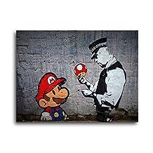 "Banksy Super Mario Bros Mushroom Brushed Aluminum Metal Print (14"" x 11"" Unlaminated)"