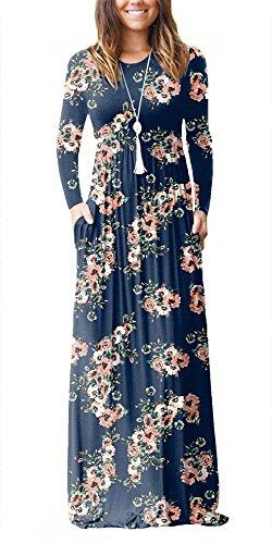 - PALINDA Women's Floral Printed Long Sleeve Empire Waist Maxi Dresses with Pockets (XXL, Navy Blue)