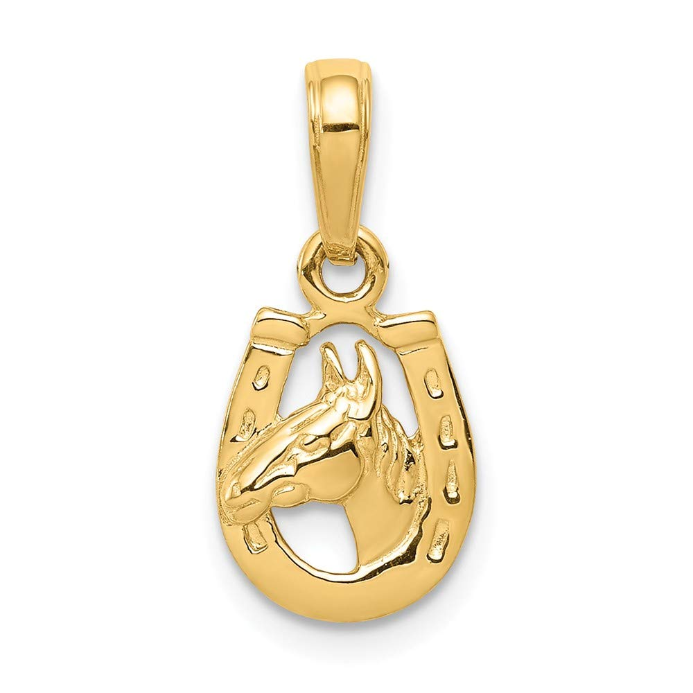 15mm x 10mm Mia Diamonds 14k Solid Yellow Gold Horseshoe with Horse Head Pendant