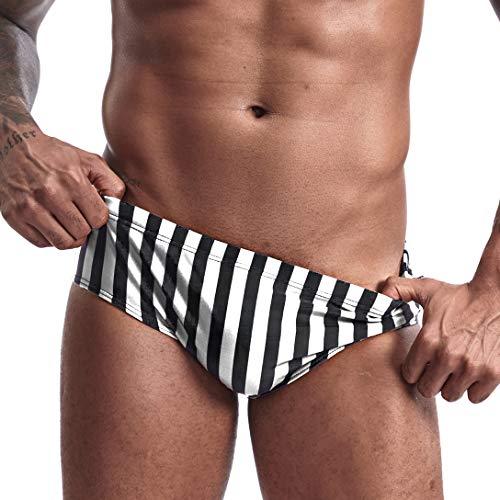 AIMPACT Mens Bikini Swimwear Sexy Low Rise Stripe Swimming Briefs for Men(BWhiteS)